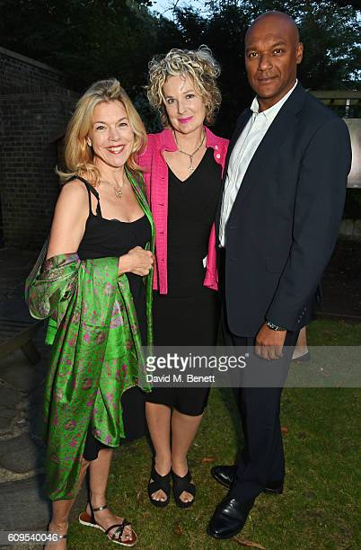 Janie Dee Fiona Hawthorne and Colin Salmon attend a drinks reception ahead of the UK Premiere of 'Dare To Be Wild' on September 21 2016 in London...