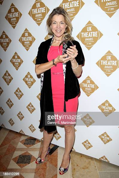 Janie Dee poses with her award for Best Performance in a Musical at The Theatre Awards 2013 at The Guildhall on October 20 2013 in London England