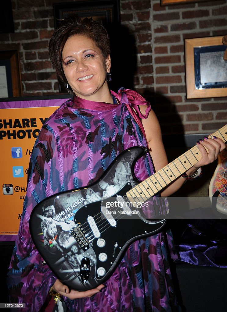 Janie Hendrix with special edition Hendrix Fender guitar at Jimi Hendrix 70th birthday party at Hard Rock Cafe Seattle on November 27, 2012 in Seattle, Washington.