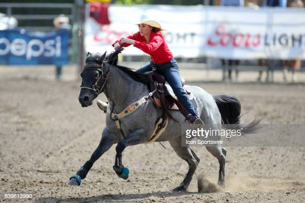 Janie Johnson from Canyon TX scored a 1802 in the Slack Barrel Racing competition on August 25 2017 at the Kitsap County Fair and Stampede in...