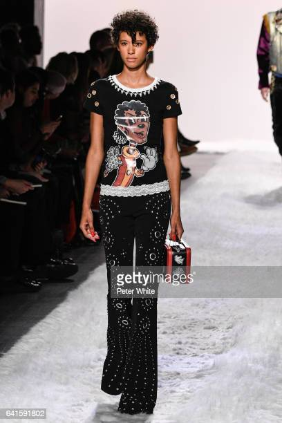 Janiece Dilone walks the runway at the Jeremy Scott show during New York Fashion Week at Gallery 1 Skylight Clarkson Sq on February 10 2017 in New...
