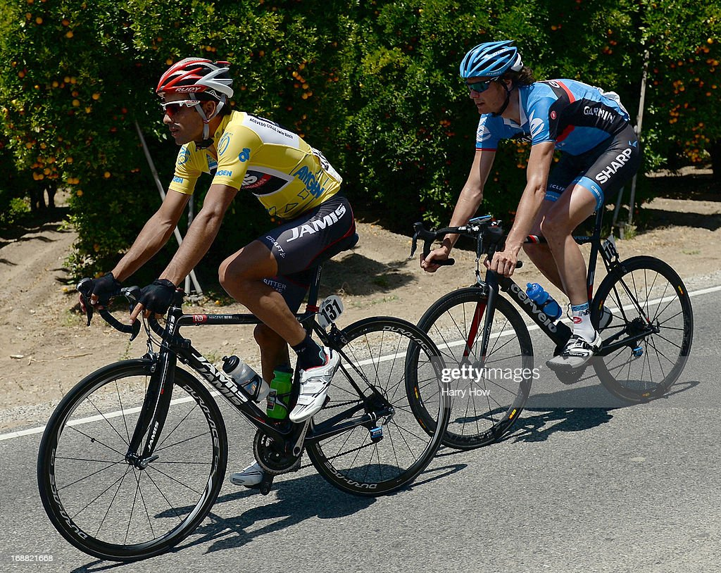 Janier Acevedo of Columbia riding for Jamis-Hagens Berman leads Johan Van Summeren of Belgium riding for Garmin-Sharp during Stage 4 of the Tour of California on May 15, 2013 in Fillmore, California.