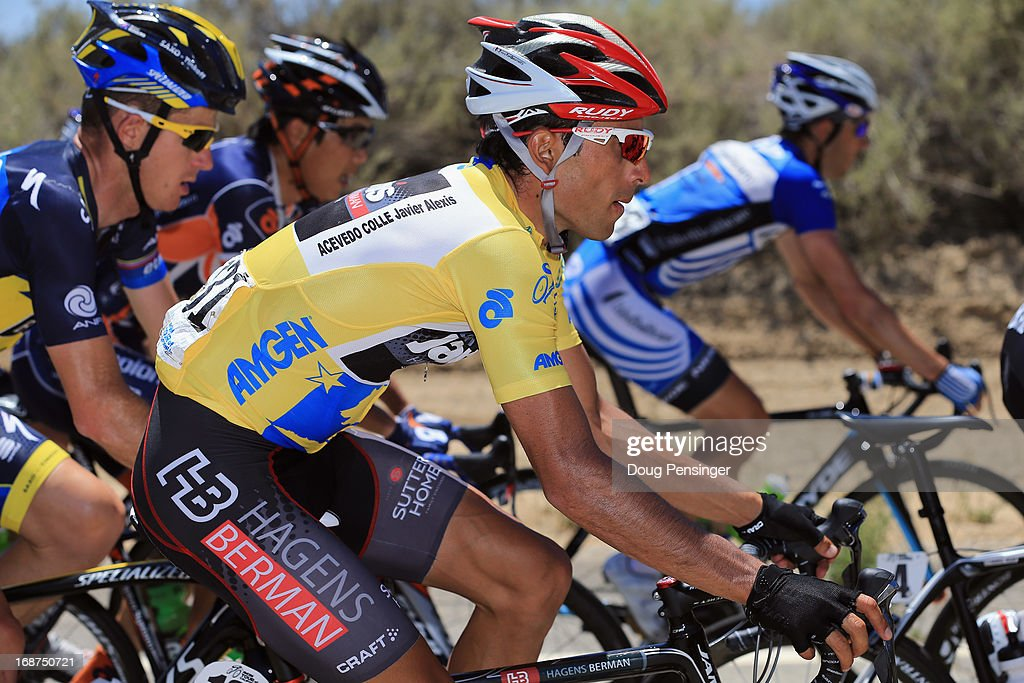 Janier Acevedo of Columbia riding for Jamis-Hagens Berman rides in the peloton as he defended the overall race leader's jersey during Stage Three of the 2013 Amgen Tour of California from Palmdale to Santa Clarita on May 14, 2013 in Santa Clarita, California.