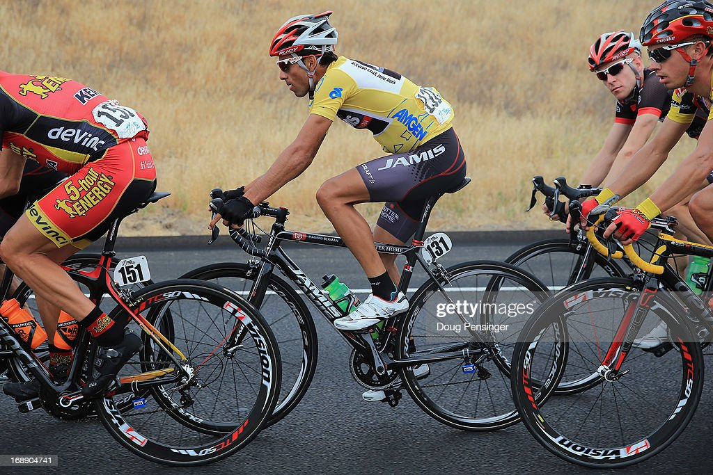 Janier Acevedo of Columbia riding for Jamis-Hagens Berman rides in the peloton as he lost the overall race leader's jersey to Tejay van Garderen of BMC Racing during Stage Five of the 2013 Amgen Tour of California from Santa Barbara to Avila Beach on May 16, 2013 in Santa Ynez, California.