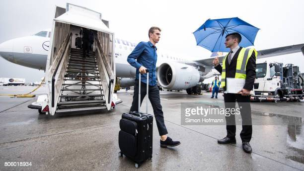 Janik Haberer departs the plane carrying the Germany U21 National Team at Frankfurt International Airport on July 1 2017 in Frankfurt am Main Germany