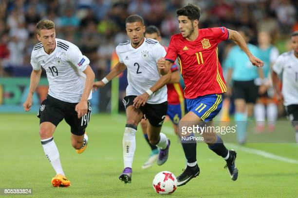 Janik Haberer Jeremy Toljan Marco Asensio during the UEFA U21 Final match between Germany and Spain at Krakow Stadium on June 30 2017 in Krakow Poland