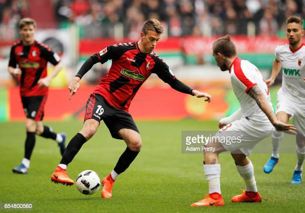 Janik Haberer of Freiburg in action during the Bundesliga match between FC Augsburg and SC Freiburg at WWK Arena on March 18 2017 in Augsburg Germany