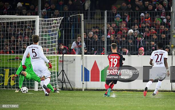 Janik Haberer of Freiburg scores the first goal during the Bundesliga match between SC Freiburg and Bayern Muenchen at SchwarzwaldStadion on January...