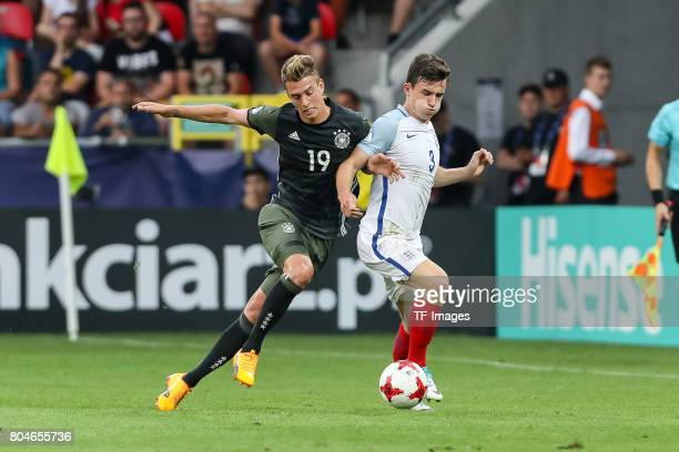 Janik Haberer of Germany and Ben Chilwell of England battle for the ball during the UEFA European Under21 Championship Semi Final match between...