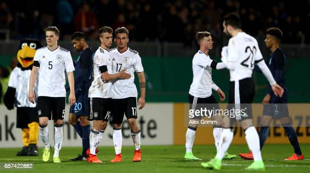Janik Haberer of Germany hughs Maximilian Philipp of Germany after winning the U21 international friendly match between Germany and England at...