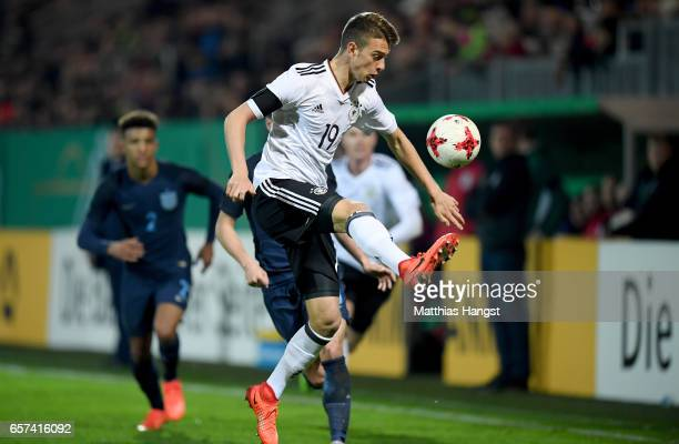 Janik Haberer of Germany kicks the ball during the U21 international friendly match between Germany and England at BRITAArena on March 24 2017 in...
