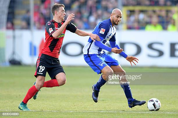 Janik Haberer of SC Freiburg and John Anthony Brooks of Hertha BSC before the game between SC Freiburg and Hertha BSC on january 29 2017 in Freiburg...