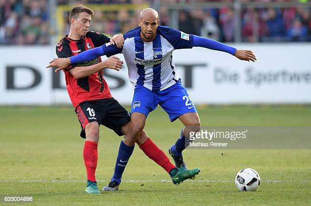Janik Haberer of SC Freiburg and John Anthony Brooks of Hertha BSC during the game between SC Freiburg and Hertha BSC on january 29 2017 in Freiburg...