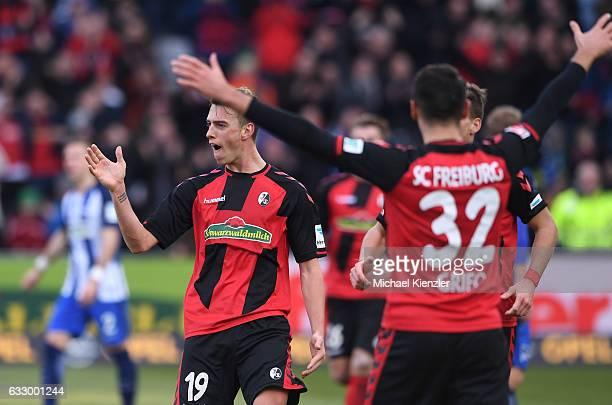 Janik Haberer of SC Freiburg celebrates his opening goal during the Bundesliga match between Sport Club Freiburg and Hertha BSC at SchwarzwaldStadion...