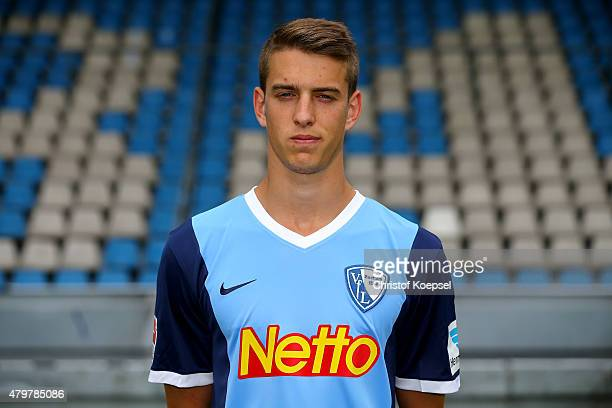 Janik Haberer poses during the team presentation of VfL Bochum at Rewirpower Stadium on July 7 2015 in Bochum Germany