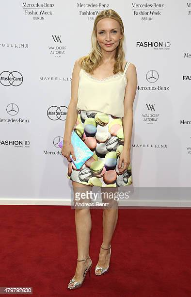 Janin Reinhardt attends the Marc Cain show during the MercedesBenz Fashion Week Berlin Spring/Summer 2016 at Brandenburg Gate on July 7 2015 in...