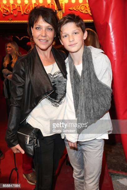 Janina Hartwig and her son David Hartwig during the premiere of the Circus Roncalli '40 Jahre Reise zum Regenbogen' on October 7 2017 in Munich...