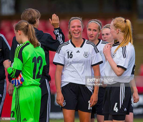 Janina Hechler of Germany and her team mates having fun during the Girl's Nordic Cup between U16 Germany and U16 Norway at Norre Aaby Stadium on June...