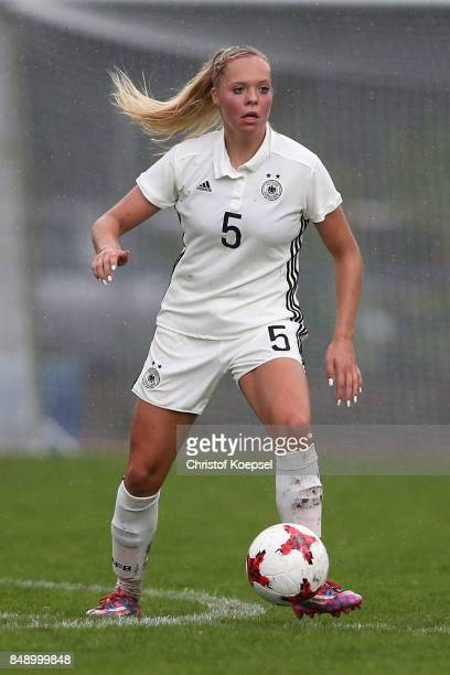 Janina Hechler of Germany runs with the ball during the UEFA Under19 Women's Euro Qualifier match between Germany and Iceland at Stadium Wedau III on...