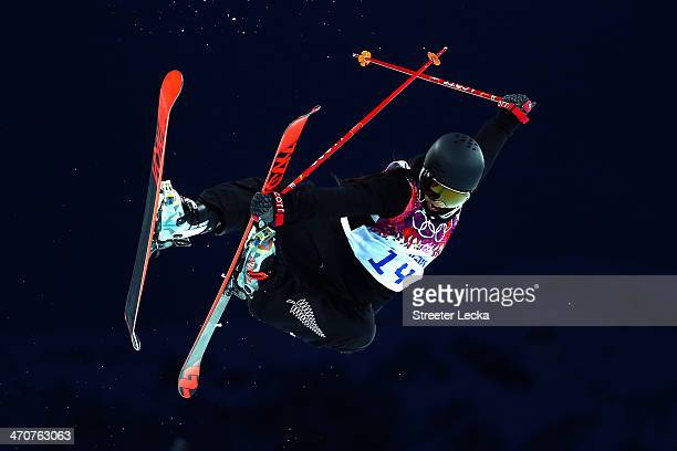 Janina Kuzma of New Zealand competes in the Freestyle Skiing Ladies' Ski Halfpipe Qualification on day thirteen of the 2014 Winter Olympics at Rosa...