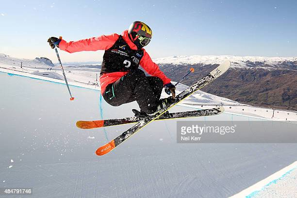 Janina Kuzma of New Zealand practices in the FIS Freestyle Ski World Cup Halfpipe training session during the Winter Games NZ at Cardrona Alpine...