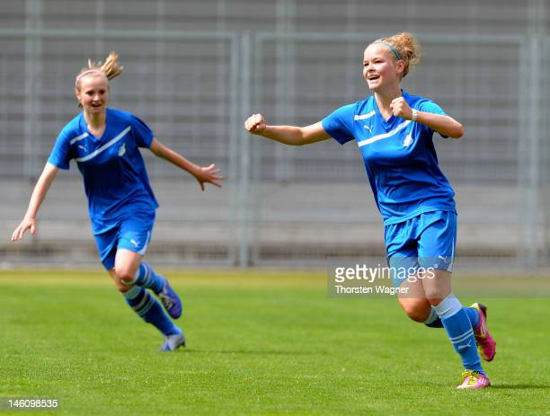 Janina Meissner of Hoffenheim celebrates after scoring her teams first goal during women's bjuniors bundesliga final match between TSG 1899...