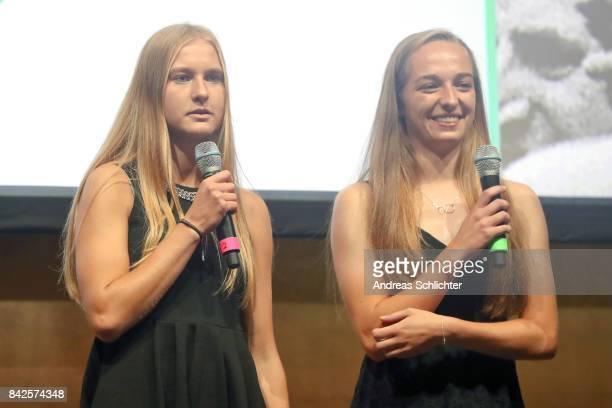 Janina Minge and Sophia Kleinherne during the FritzWalterMedaille Awarding Ceremony on September 4 2017 in Stuttgart Germany