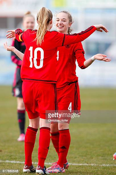 Janina Minge and Sophia Kleinherne of Germany celebrate after winning the U17 Girl's Euro Qualifier match between Austria and Germany at Moser...