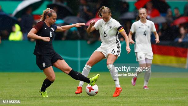 Janina Minge of Germany challenges Jaelin Howell of USA during the international friendly match between U19 Women's Germany and U19 Women's USA at...