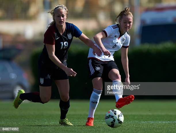 Janina Minge of Germany competes for the ball with Jaelin Howell of USA during the international friendly match between Germany Women U19 and USA...