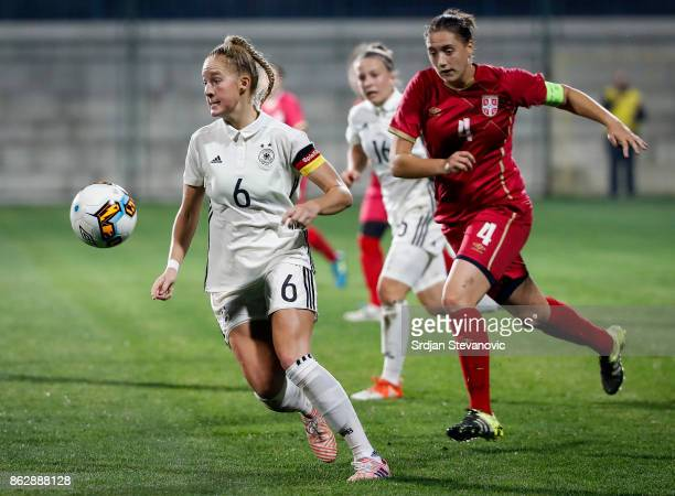 Janina Minge of Germany in action against Tijana Djordjevic of Serbia during the international friendly match between U19 Women's Serbia and U19...
