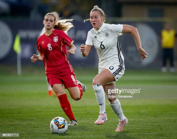 Janina Minge of Germany in action Andrijana Trisic of Serbia during the international friendly match between U19 Women's Serbia and U19 Women's...