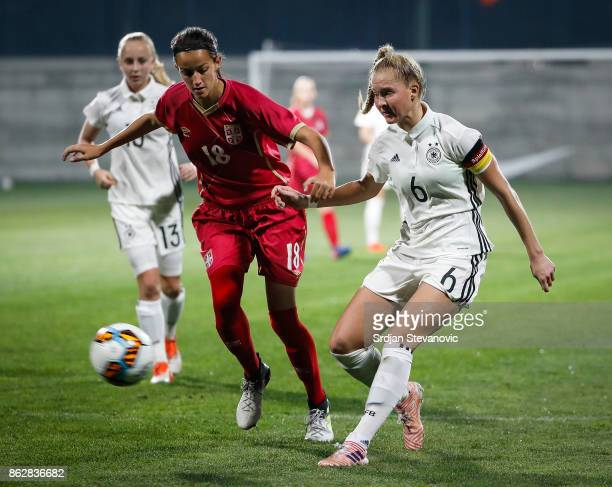 Janina Minge of Germany in action Ivana Trbojevic of Serbia during the international friendly match between U19 Women's Serbia and U19 Women's...