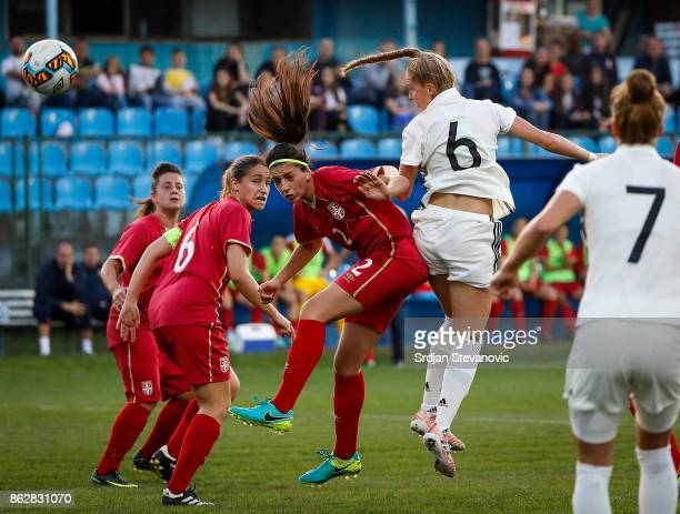 Janina Minge of Germany jump for the ball against Jovana Stojanovic of Serbia during the international friendly match between U19 Women's Serbia and...