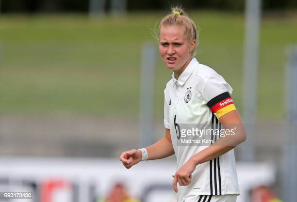 Janina Minge of Germany looks on during the U19 women's elite round match between Germany and Iceland at Friedensstadion on June 7 2017 in...