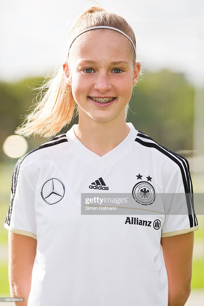 Janina Minge of Germany poses during the German Girls U15 national team presentation at Wiener Ring training ground on October 29, 2013 in Offenbach, Germany.