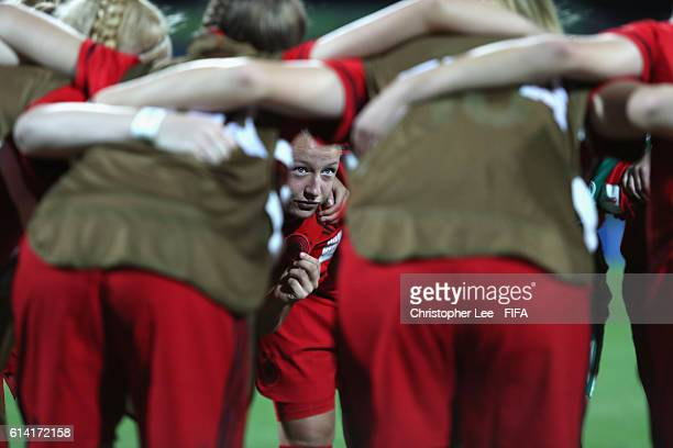 Janina Minge of Germany psycs her team up during the FIFA U17 Women's World Cup Jordan 2016 Quarter Final match between Germany and Spain at Amman...