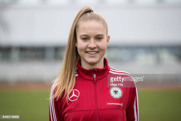 Janina Minge poses during the Germany Women's U19 team presentation on February 28 2017 in Duesseldorf Germany