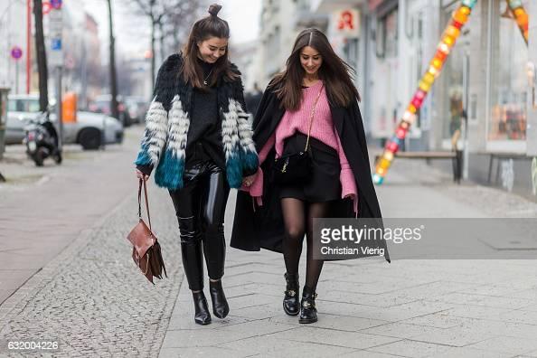 Janina Pfau wearing a Zara mini skirt tights Balenciaga boots YSL bag a pink Mango knit with wide sleeves a black Edited coat and Veronique Sophie...