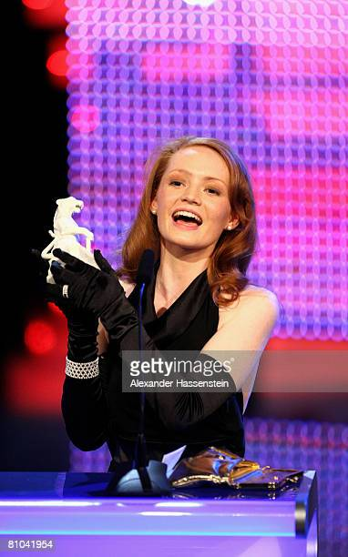 Janina Stopper poses with the award during the Bavarian Television Award 2008 at the Prinzregenten Theatre on 9 May 2009 in Munich Germany