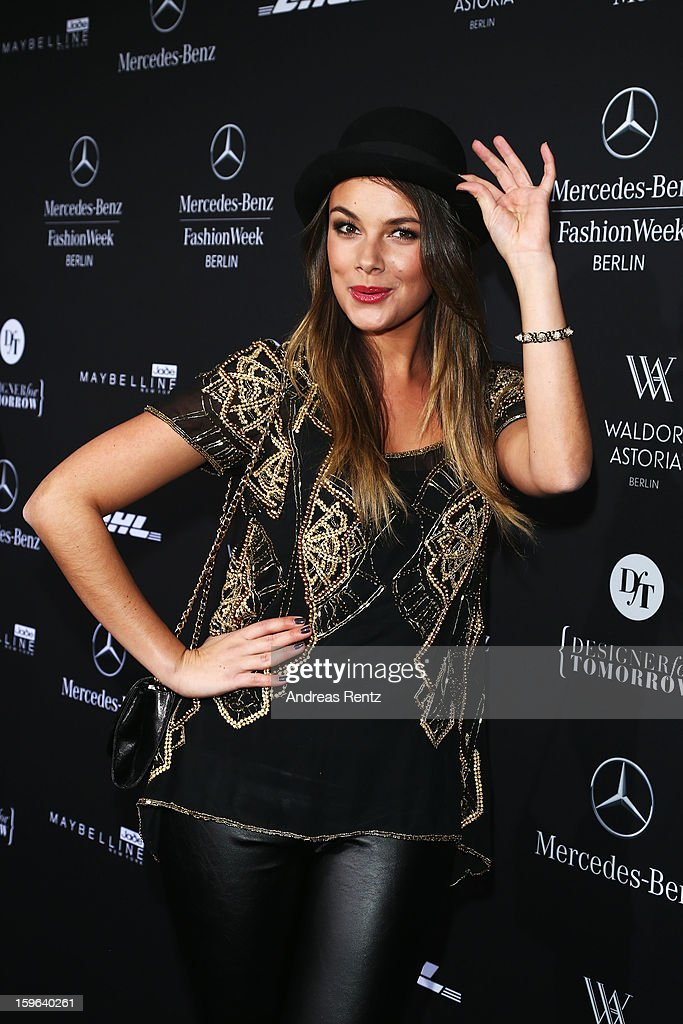 Janina Uhse attends Guido Maria Kretschmer Autumn/Winter 2013/14 fashion show during Mercedes-Benz Fashion Week Berlin at Brandenburg Gate on January 17, 2013 in Berlin, Germany.