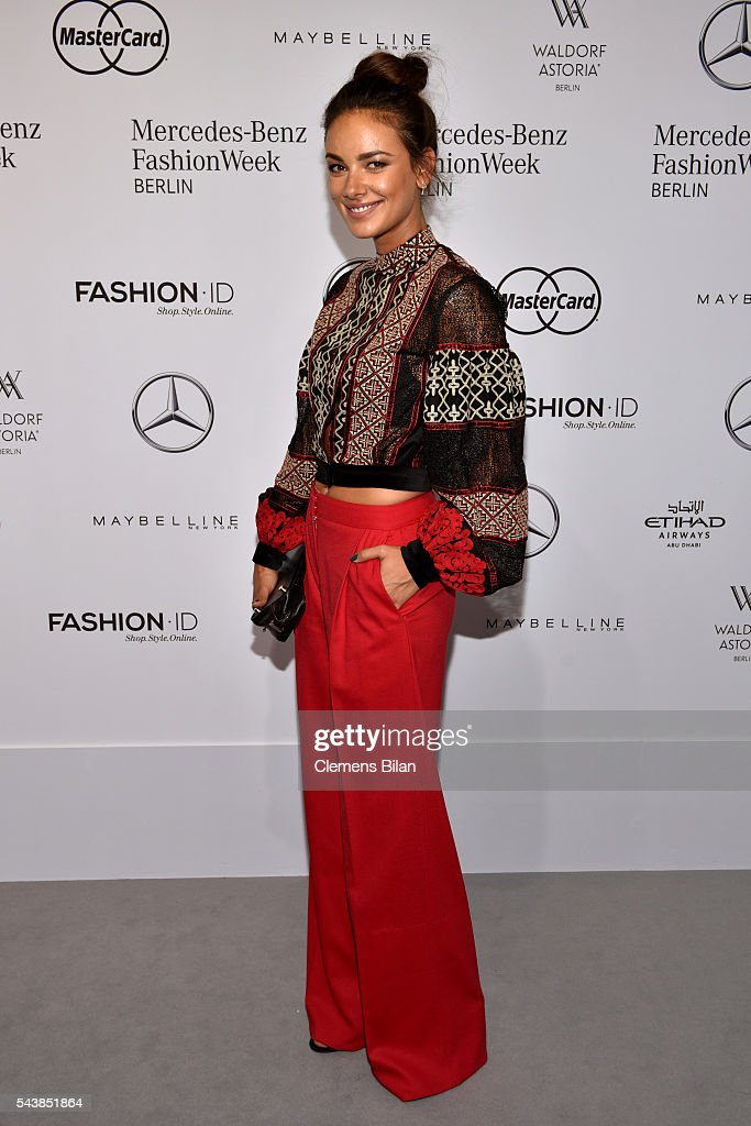 Janina Uhse attends the Dimitri show during the Mercedes-Benz Fashion Week Berlin Spring/Summer 2017 at Erika Hess Eisstadion on June 30, 2016 in Berlin, Germany.