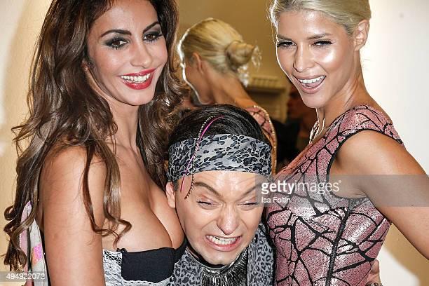 Janina Youssefian Julian Stoeckel and Micaela Schaefer attend the Flaconi Neo Salon Opening on October 29 2015 in Berlin Germany