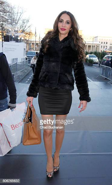 Janina Youssefian sighted during the MercedesBenz Fashion Week Berlin Autumn/Winter 2016 at Brandenburg Gate on January 22 2016 in Berlin Germany