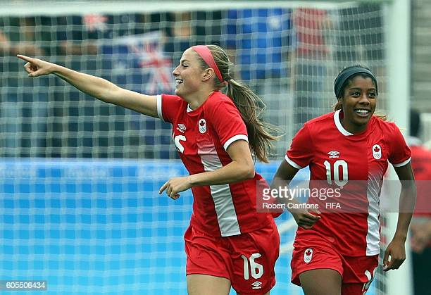 Janine Beckie of Canada celebrates after scoring a goal during the Women's First Round Group F match between Canada and Australia at Arena...