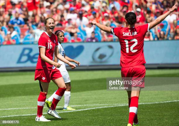 TORONTO ON JUNE 11 Janine Beckie of Canada celebrates her third goal of the game with Christine Sinclair during the 1st half of a friendly women's...