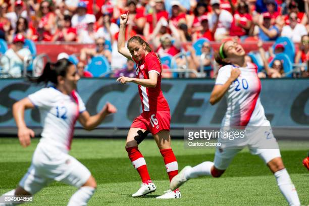 TORONTO ON JUNE 11 Janine Beckie of Canada scores her second goal of the game during the 1st half of a friendly women's soccer match between Canada...