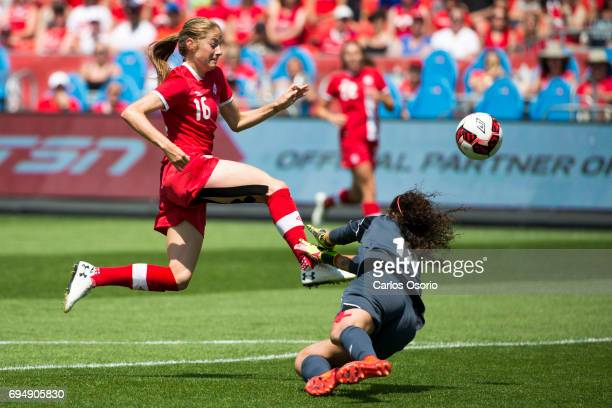 TORONTO ON JUNE 11 Janine Beckie of Canada shoots past a diving Noelia Bermudez of Costa Rica during the 1st half of a friendly women's soccer match...
