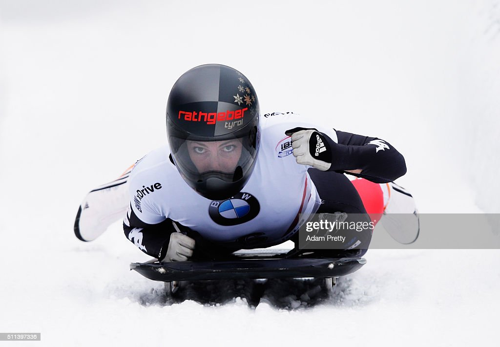 Janine Flock of Austria celebrates second place in the Women's Skeleton on day 6 of the 2016 IBSF World Championships at Olympiabobbahn Igls on February 20, 2016 in Innsbruck, Austria.