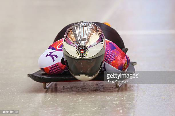 Janine Flock of Austria during the Women's Skeleton heats on Day 6 of the Sochi 2014 Winter Olympics at Sliding Center Sanki on February 13 2014 in...